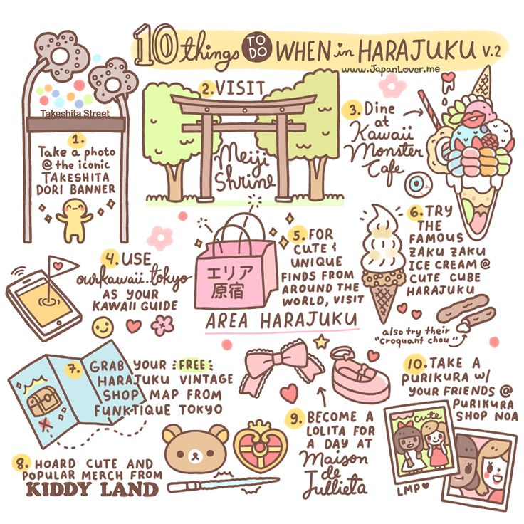 ♡ 10 Things To Do When in Harajuku by Japan Lover Me​  -  (2015 Version) ♡ 1. Take a picture at the iconic Takeshita Dori banner 2. Visit Meiji Shrine / Meiji Jingu 3. Dine at Kawaii Monster Cafe H...