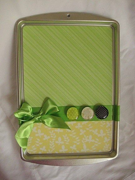 Cookie sheet turned magnetic message board