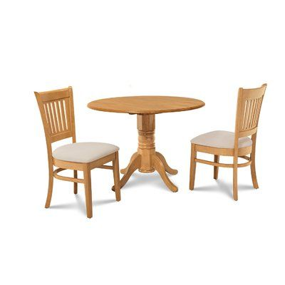 Alcott Hill Chesterton Transitional 3 Piece Oak Dining Set