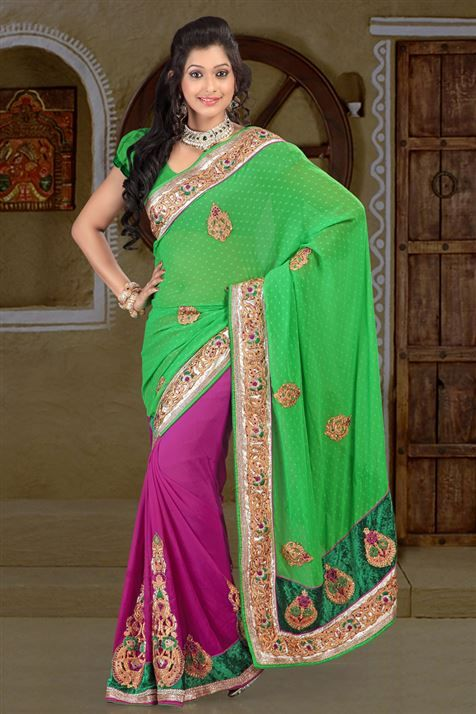 Chiffon Green, Purple half-half embroidered party wear saree