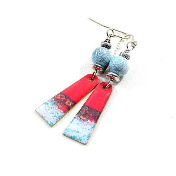 Blue Red White Boho Chic Earrings Paint and Resin Earrings