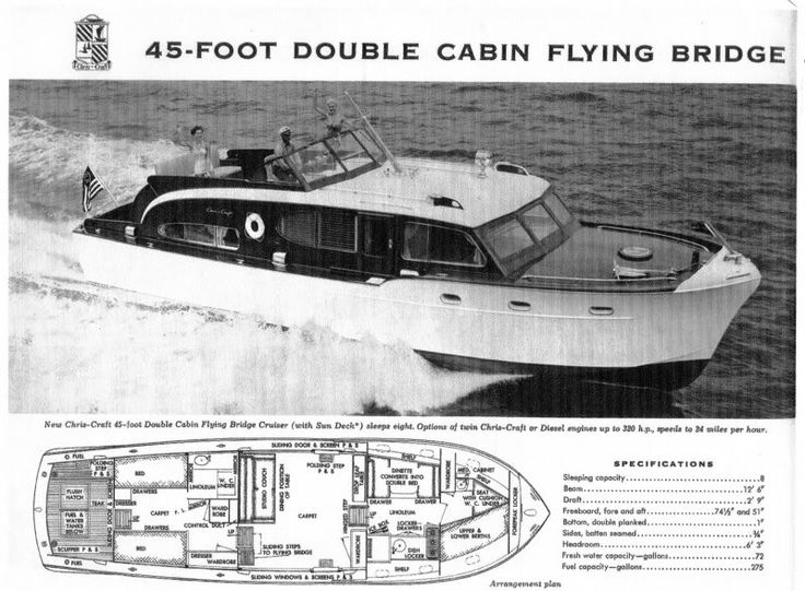 1954 45' Chris Craft Double Cabin Flying Bridge Cruiser ad ...