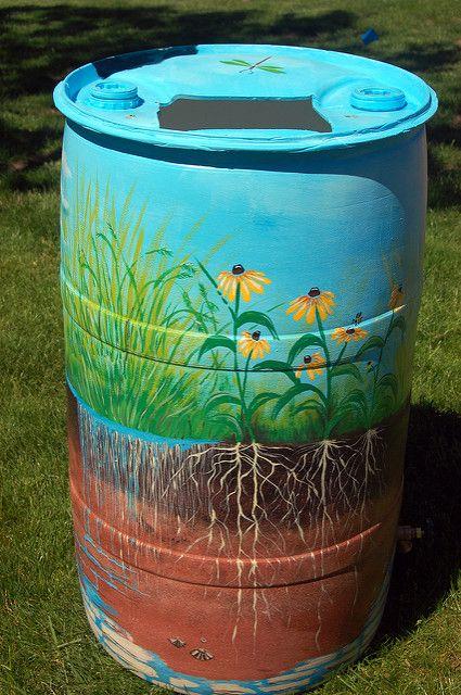 Painted Rain Barrel Design