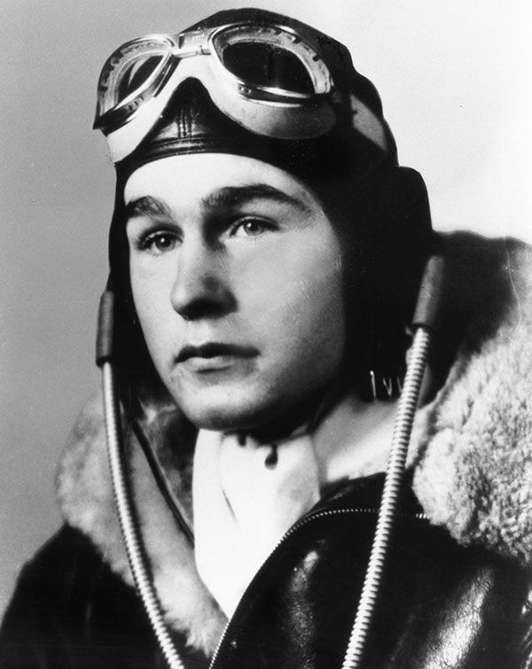 George Bush Sr. was a well-regarded World War II Navy pilot, and was the youngest pilot in United States Naval history at age 18.