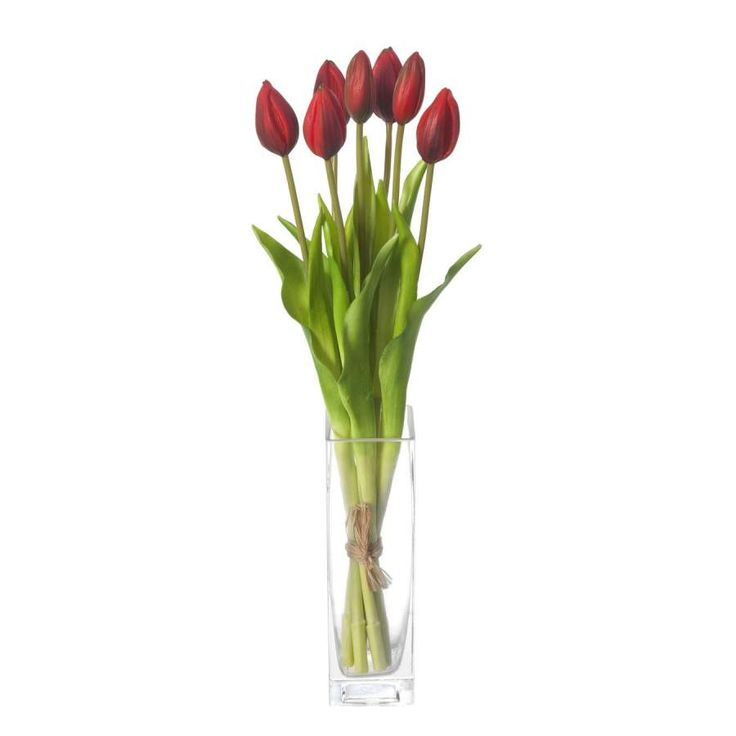 Ramos flores artificiales online. Ramo flores artificiales atado con siete tulipanes rojos. Silvestre y natural .Tallos alambrados. Indicado para jarrones. Alto 43 cm