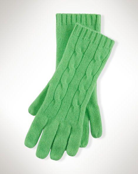 Cable-Knit Cashmere Gloves - Polo Ralph Lauren Scarves - RalphLauren.com
