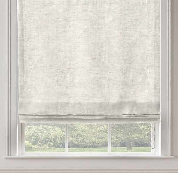 Stonewashed Sheer Linen Flat Roman Shade Curtains And