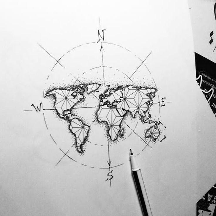 Globe World Map With Plane Tattoo Design