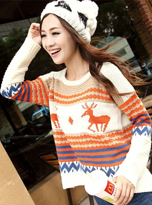 Buy Casual Round Neck Long Sleeves Deer Print Christmas Sweater For Women Sweaters under US$ 16.99 only in SimpleDress.