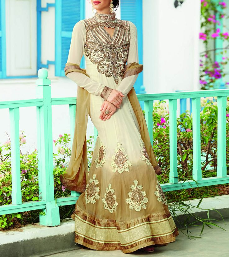Beige & Cream #Embroidered Georgette #AnarkaliSuit available at 80% discount before the end of #SummerSale.