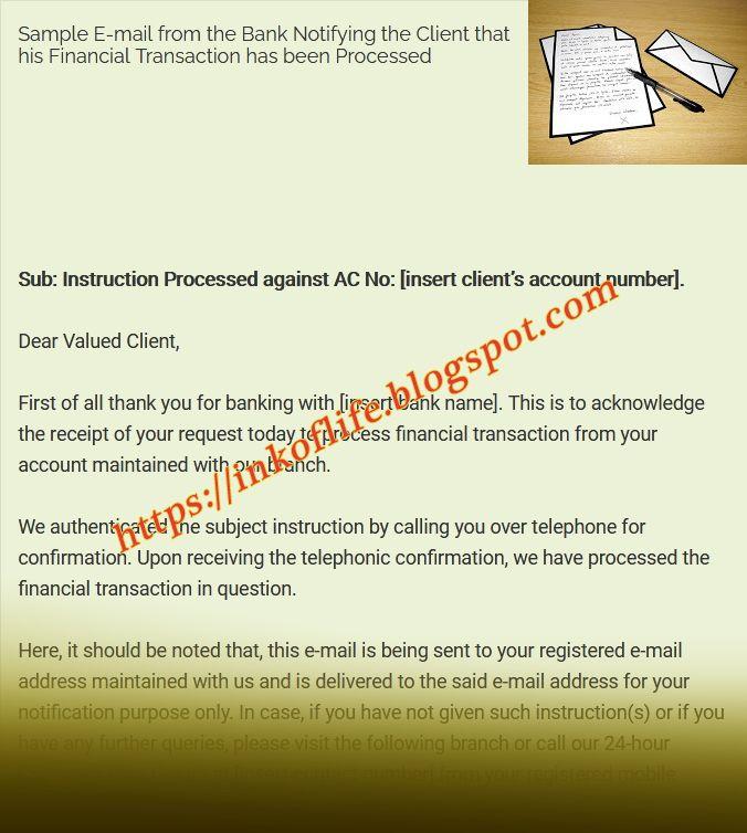 Sample Bank Transaction Confirmation E Mail Letter Sample Business Letter Bank