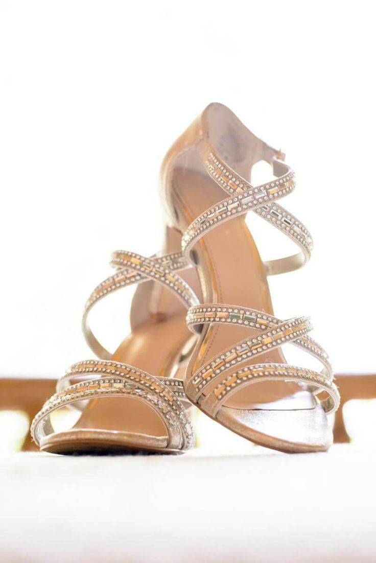 Rustic Romantic Outdoor Wedding - gold bridal shoes
