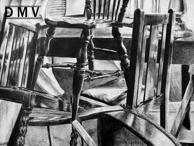 Image Detail For  This Is A Black And White Still Life Drawing Of Chairs  That