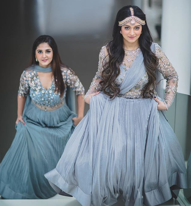 The #RidhiMehra x @WedMeGood Bride & Bestie shoot! Sakshi in a custom Ridhi Mehra embellished mist grey peplum lehenga from our soon-to-be launched SS17 collection! . To shop this outfit, visit our Delhi Store: D5A, Chhattarpur Enclave Ph - 1, New Delhi You can also call us at +91-9818072244 or email at shop@ridhimehra.com to place your order. . More pictures on WedMeGood.com/blog | link in bio . Shot by @GautamKhullarPhotography Hair & Make-up by @Paveena.Rathour Location & sculptures by