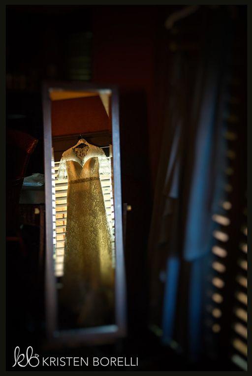 Lace Wedding Gown, mirror reflection (Kristen Borelli Photography, Tigh Na Mara Spa, Parksville)