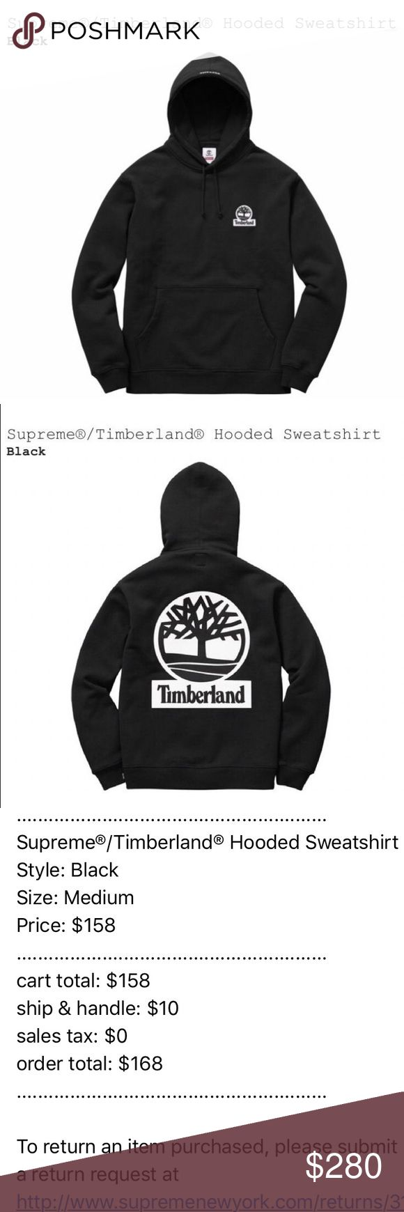 NWT Authentic Supreme x Timberland Hoodie Black This is SOLD OUT! Never been worn. It just came in the mail (will post photos when I get home from school in a week) Feel free to ask questions! This is a sick sweatshirt and a unique collab with timberland and for a great price. Supreme Sweaters