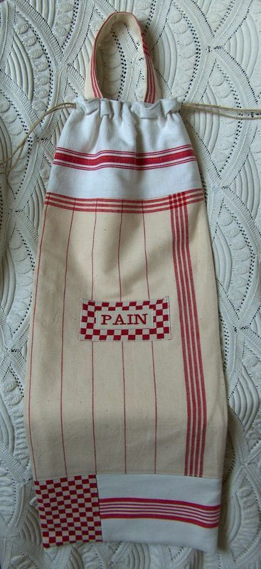 Sac à pain patchwork torchons vichy rouge