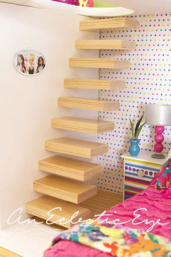 Floating stairs for dollhouse