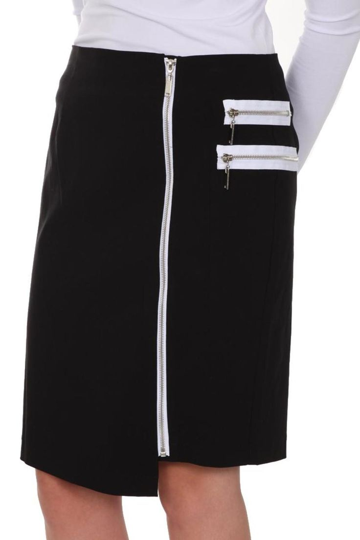 Great detail on this black and white pencil skirt. Full zip in front with offset hem in front. Zip detail on pockets (faux). Pencil style. Can be worn with a jacket or nice white top. Great addition to any wardrobe!   Black Skirt by Insight New York. Clothing - Skirts - Knee Clothing - Skirts - Pencil Iowa