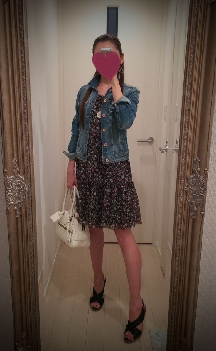 Printed dress + jeans jacket + white bag + black heels - http://ameblo.jp/nyprtkifml
