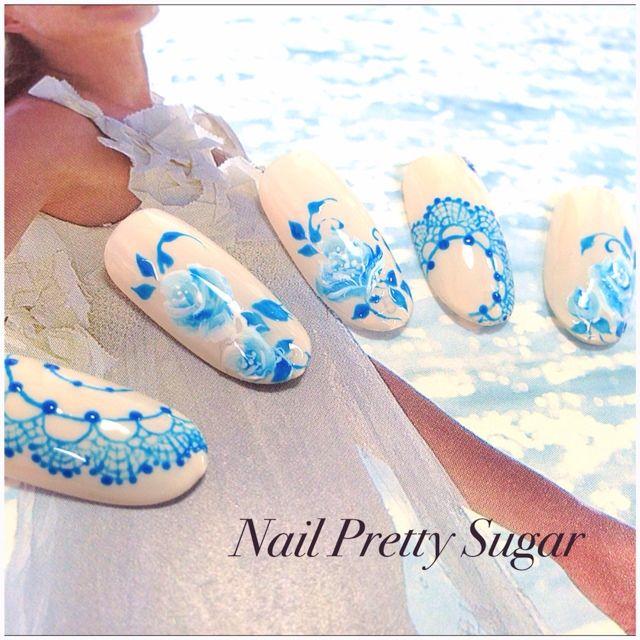 ネイル 画像 Nail Pretty Sugar 伊達紋別 457609 ブルー レース ソフトジェル ハンド