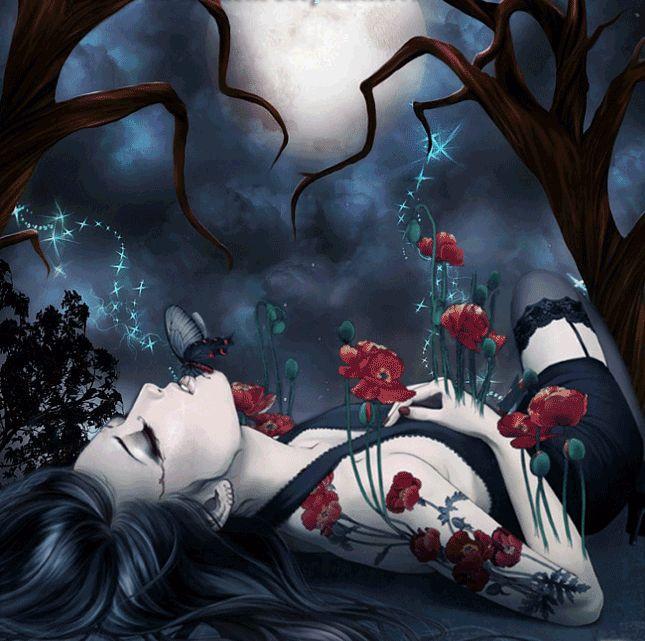 Анимация Девушка в цветах и тату в виде цветов лежит на спине под деревьями, ей…