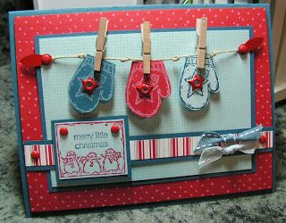 """Me, My Stamps and I: Flaky Friends Stamps: Flaky Friends, Cute Converse, Itty Bitty Backgrounds Paper: Not Quite Navy, Real Red, Soft Sky, Dashing DSP Ink: White Craft, Real Red, Not Quite Navy, Soft Sky Accessories: Clothespin,DS Ribbon, Star Brads, Red Brads, Hemp Tools: 1/16"""" Punch, Dimensionals"""