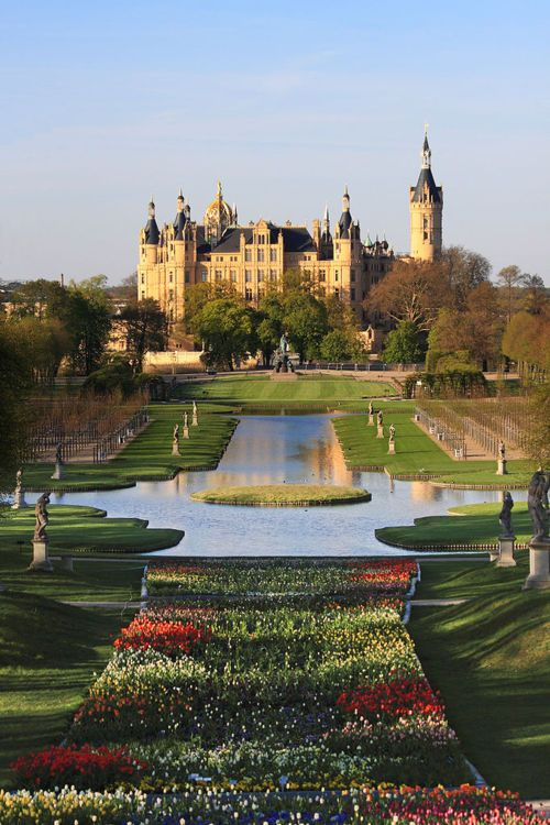 Schwerin Castle, Germany. You can see all of the garden from the