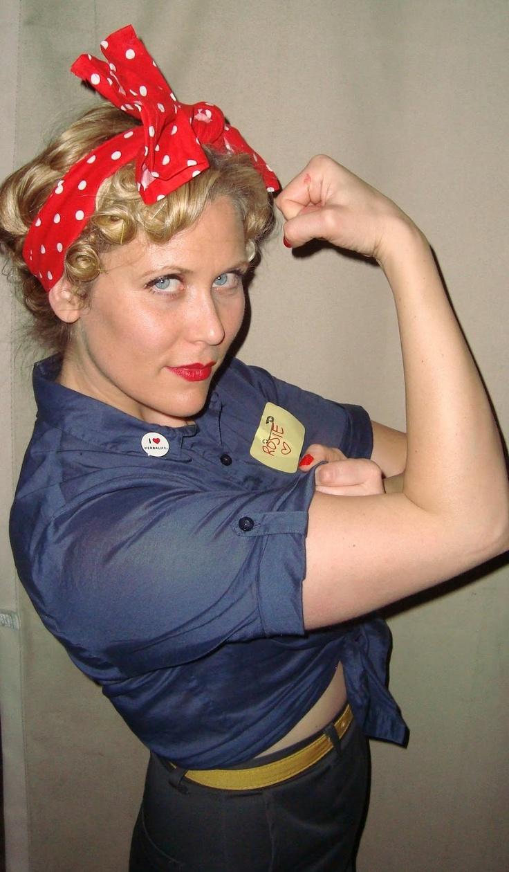 "Rosie the Riviter ""We Can Do It"" for Halloween! #rosietheriviter #vintagecostume #wecandoit www.agirlintransit.blogspot.com"