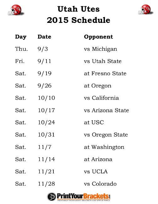 Printable Utah Utes Football Schedule 2015
