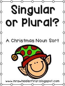Christmas Singular or Plural Noun Sort FREE