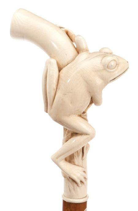 CARVED IVORY AND WOOD FROG CANE , Circa 1900