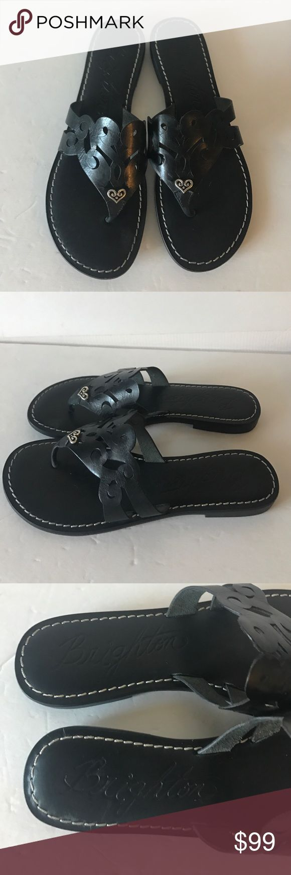 Brighton Alegre black sandals!!! New! Size 8M Gorgeous perfect for Spring! Brighton black leather  allegre sandals size 8M! Never worn!!! Cute silver metal plated heart embellishment in front! ❤❤❤ Brighton Shoes Sandals