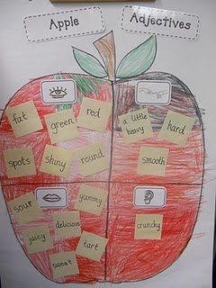 Good graphic organizer to use for adjectives. Use list for bubble map with apples at the beginning of the year.