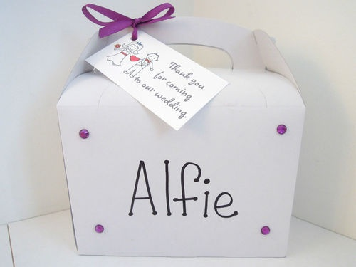 Children Personalised Purple White Wedding Party Favour Activity Bag Box