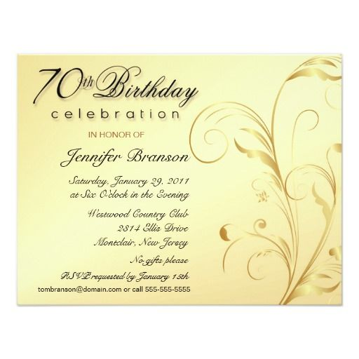 Elegant 70th Birthday Surprise Party Invitations Feminine
