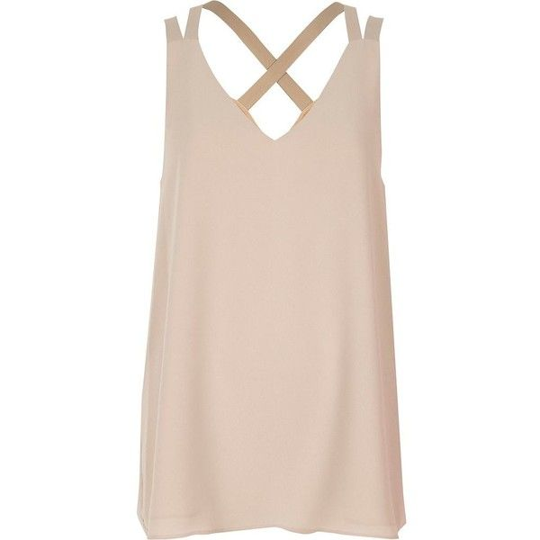 River Island Light beige cross back double strap cami top ($32) ❤ liked on Polyvore featuring tops, beige, women, v neck tank, v neck cami, v-neck tank tops, tall tank tops and pink top