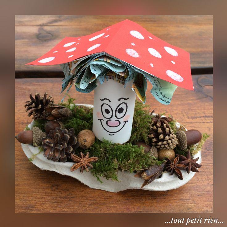 Bricolage enfant automne, petit champignon: recyclage d'un rouleau papier WC…