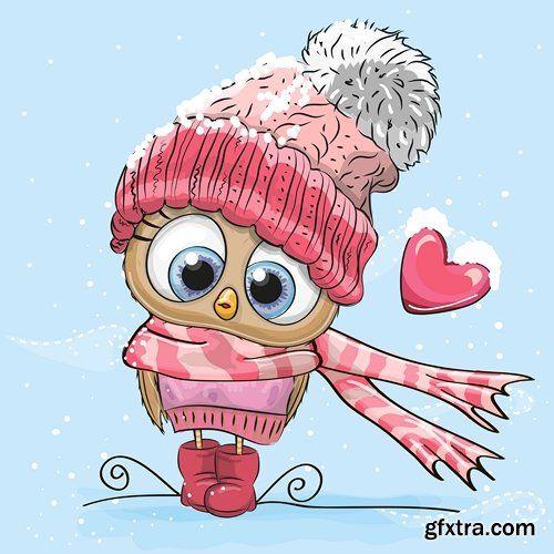Cute Cartoon Animals in a knitted cap - 25 EPS
