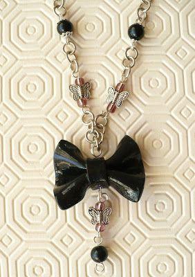 Sweet Bio design: Collana con fiocco in fimo - Necklace with fimo bo...