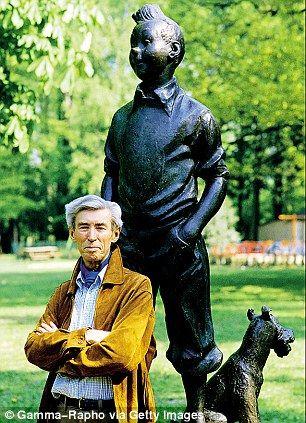 Hergé vor einer Statue von Tim und Struppi in Brüssel, 1982