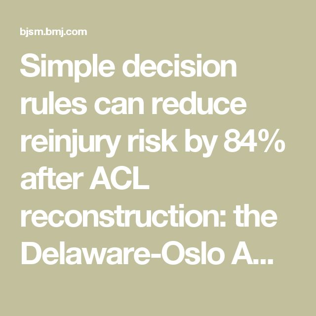 Simple decision rules can reduce reinjury risk by 84% after ACL reconstruction: the Delaware-Oslo ACL cohort study | British Journal of Sports Medicine
