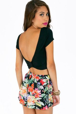 Scooping Back Bow Crop Top $22 at www.tobi.com