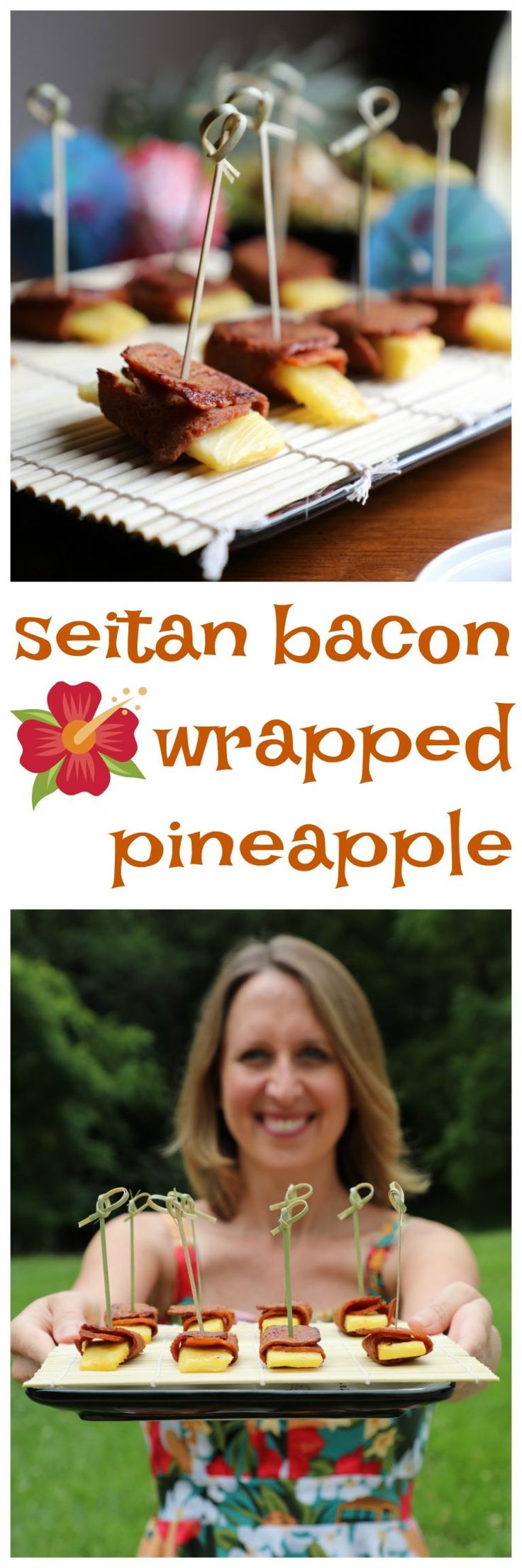 Everything you need for a tiki party! Cocktails, appetzers, and vegan seitan bacon wrapped pineapple.