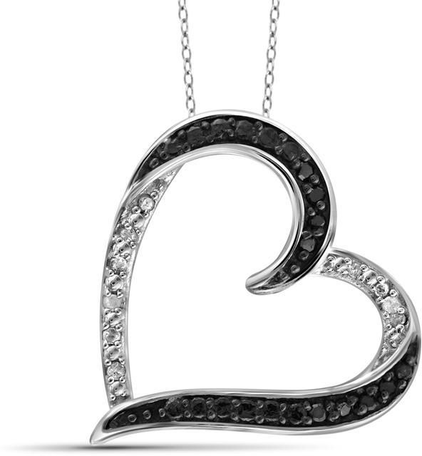 Ice Sterling Silver Fancy Heart Pendant Necklace with Diamond Accents by JewelonFire