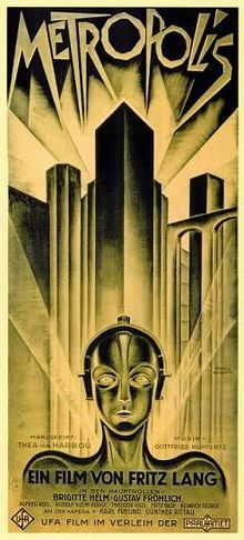 Metropolis -1927 German expressionist science-fiction film directed by Fritz Lang. The film was written by Lang and his wife Thea Von Harbou, and starred Brigitte Helm, Gustav Fröhlich, Alfred Abel and Rudolf Klein-Rogge. A silent film, it was produced in the Babelsberg Studios by UFA. Made in Germany during the Weimar Period, Metropolis is set in a futuristic urban dystopia, and follows the attempts of Freder, the wealthy son of the city's ruler, and Maria, whose background is not fully ex