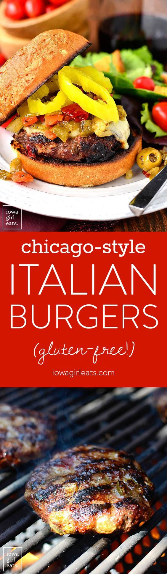 Chicago-Style Italian Burgers are a zesty, gluten-free grilling recipe packed with savory flavor. Grill indoors or out then top with melty cheese and tangy pickled peppers. | iowagirleats.com