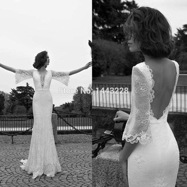 Sirène Plongeant Décolleté Trois Trimestre Manches Sexy Dentelle Dos Nu De Mariage Robe De Mariée Robe robe de noiva renda(China (Mainland))