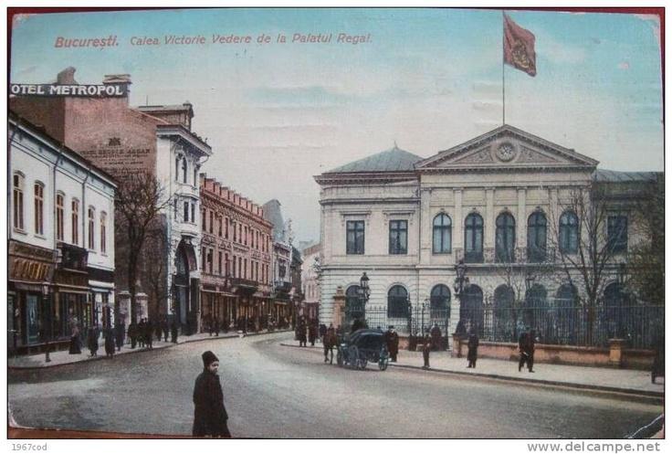 Bucuresti - Calea Victoriei cu Palatul Regal - antebelica