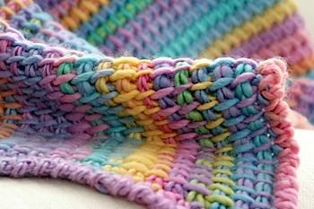 closeup of tunisian crochet blanket